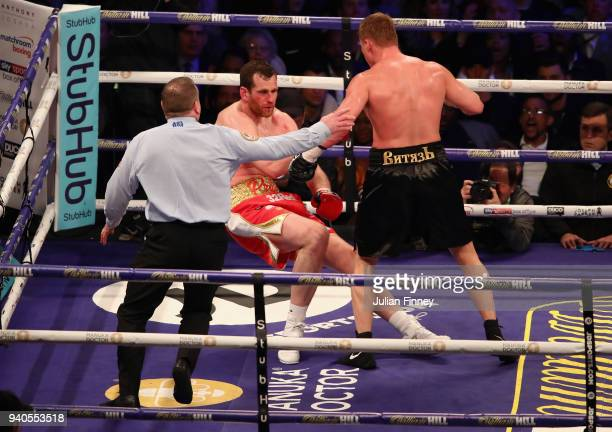 Alexander Povetkin knocks David Price down during there WBA InterContinental Heavyweight WBO International Heavyweight Championship title fight at...