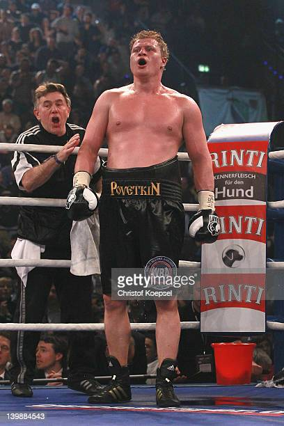 Alexander Povetkin of Russia concentrates prior to the last round of the WBA World Championship Heavyweight fight between Marco Huck of Germany and...