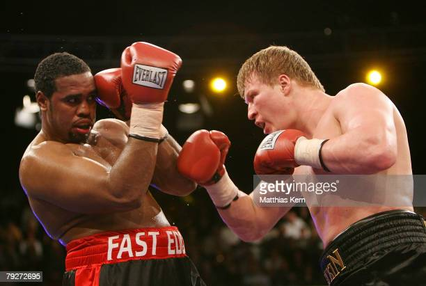 Alexander Povetkin of Russia fights Eddie Chambers of the U.S. During their IBF final eliminator heavyweight match at the Tempodrom on January 26,...