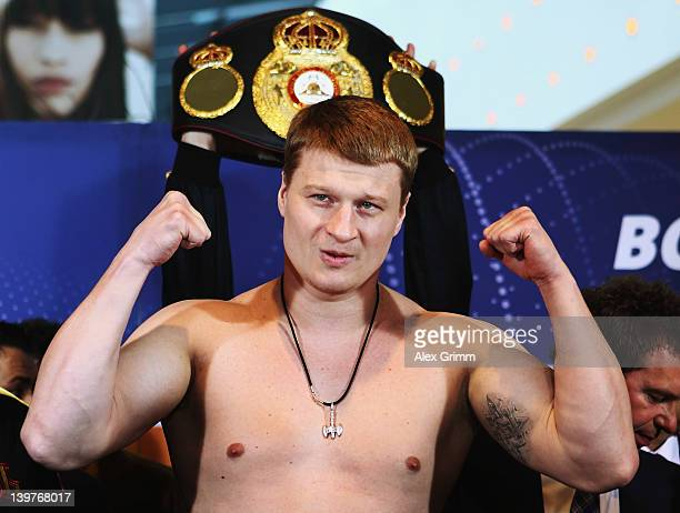 Alexander Povetkin of Russia poses for the media during the weigh in for his upcoming WBA World Championship Heavyweight fight against Marco Huck of...