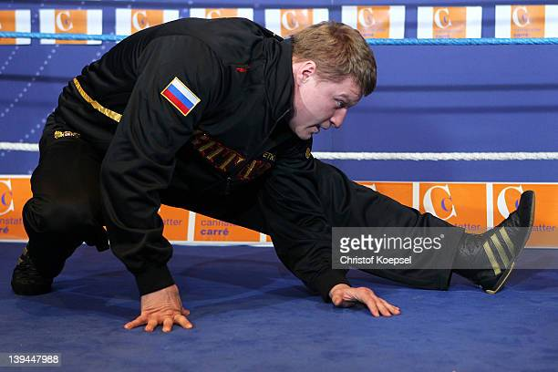 Alexander Povetkin of Russia stretches during the public training at Canstatter Carre on February 21 2012 in Stuttgart Germany The WBA World...