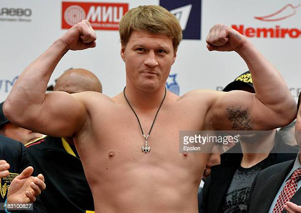 Alexander Povetkin poses during the official weigh in at the Atrium shopping centre on October 4 2013 in Moscow Russia