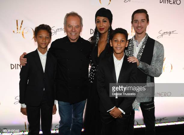 Alexander Puck Wolfgang Puck Gelila Puck Oliver Puck and Byron Puck attend Spago at Bellagio on May 20 2018 in Las Vegas Nevada