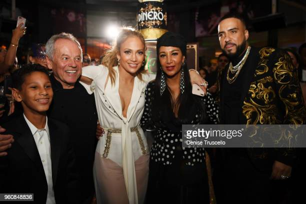 Alexander Puck Wolfgang Puck Jennifer Lopez Gelila Puck and French Montana attend Spago at Bellagio on May 20 2018 in Las Vegas Nevada