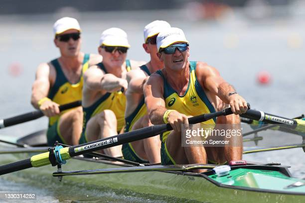 Alexander Purnell, Spencer Turrin, Jack Hargreaves and Alexander Hill of Team Australia compete during the Men's Four Heat 1 on day one of the Tokyo...