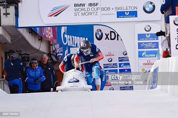 Alexander Pushkarev Aleksei in action during the start BMW IBSF World Cup Bob 2 man 2015/2016 St Moritz Swiss