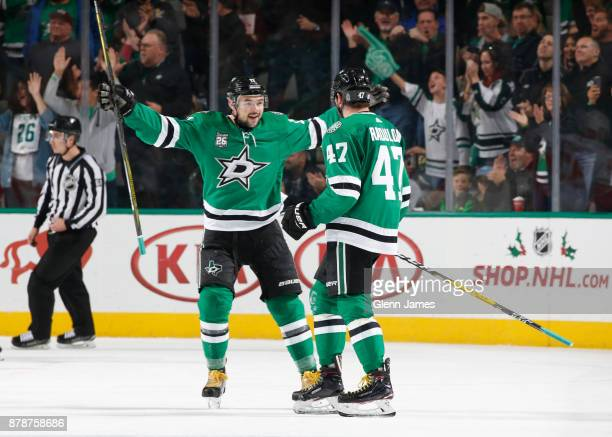 Alexander Radulov and Devin Shore of the Dallas Stars celebrate a goal against the Calgary Flames at the American Airlines Center on November 24 2017...