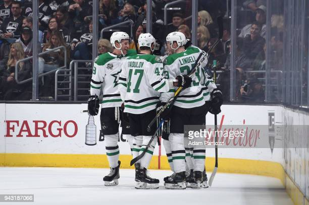 Alexander Radulov and Esa Lindell of the Dallas Stars celebrate with teammates after scoring a goal against the Los Angeles Kings at STAPLES Center...