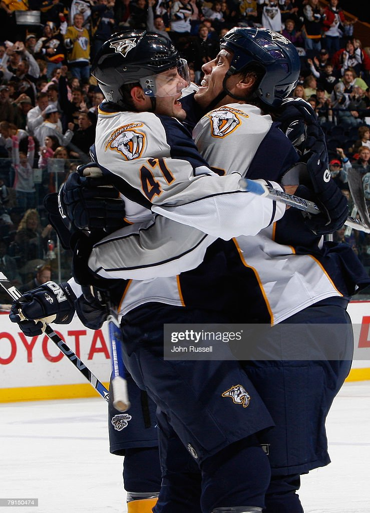 Alexander Radulov #47 and Shea Weber #6 of the Nashville Predators celebrate a goal against the St. Louis Blues on January 21, 2008 at the Sommet Center in Nashville, Tennessee.