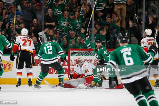 Alexander Radulov and the Dallas Stars celebrate a goal against the Calgary Flames at the American Airlines Center on November 24 2017 in Dallas Texas