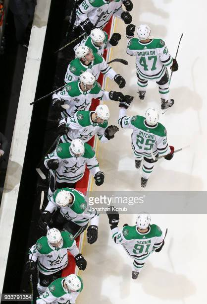 Alexander Radulov Brett Ritchie and Tyler Seguin of the Dallas Stars celebrate a second period goal against the Winnipeg Jets with teammates at the...