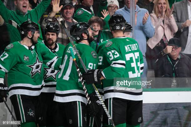 Alexander Radulov Jamie Benn Tyler Seguin Marc Methot and the Dallas Stars celebrate a goal against the St Louis Blues at the American Airlines...