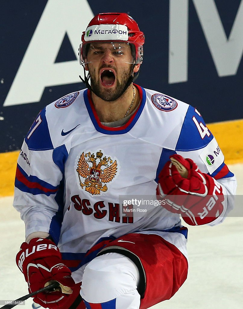 Alexander Radulov of Russia celebrates after he scores hi steam's 1st goal during the IIHF World Championship group H match between Slovakia and Russia at Hartwall Areena on May 12, 2013 in Helsinki, Finland.