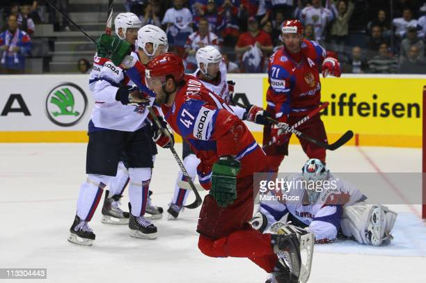 Alexander Radulov of Russia celebrates after he scores his team's 5th goal during the IIHF World Championship group A match between Russia and...