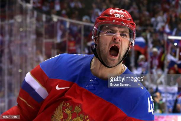 Alexander Radulov of Russia celebrates after scoring a goal in a shoot out against Jan Laco of Slovakia during the Men's Ice Hockey Preliminary Round...