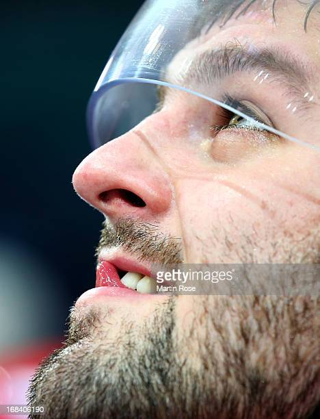 Alexander Radulov of Russia reacts during IIHF World Championship group H match between Russia and France at Hartwall Areena on May 9 2013 in...