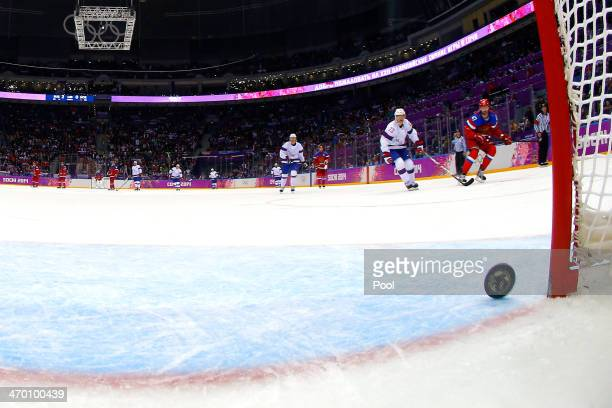 Alexander Radulov of Russia scores an open net goal in the third period against Norway during the Men's Ice Hockey Qualification Playoff game on day...