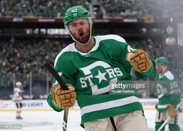 Alexander Radulov of the Dallas Stars celebrates a goal against the Nashville Predators in the third period of the 2020 Bridgestone NHL Winter...