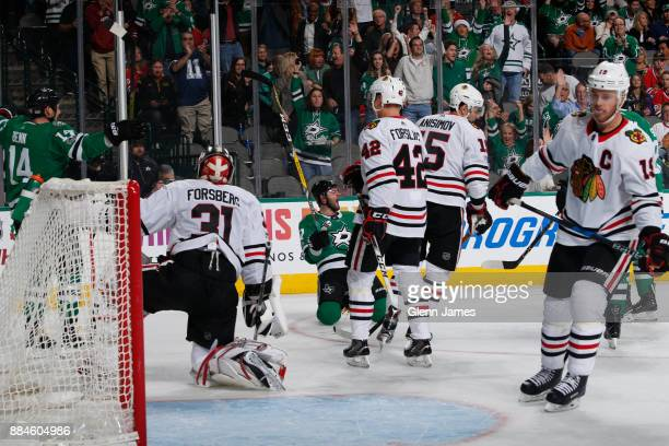 Alexander Radulov of the Dallas Stars celebrates a goal against the Chicago Blackhawks at the American Airlines Center on December 2 2017 in Dallas...