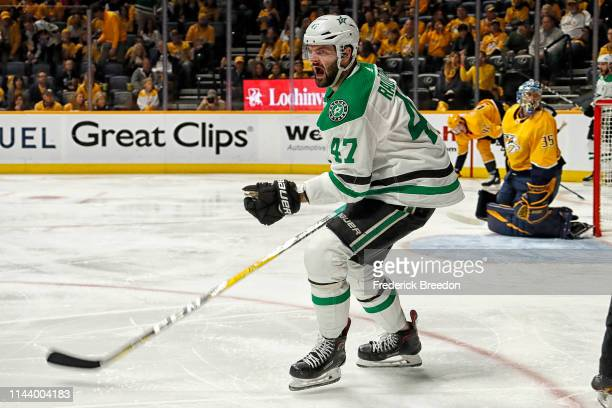 Alexander Radulov of the Dallas Stars celebrates after scoring a goal against Pekka Rinne of the Nashville Predators during the second period of Game...