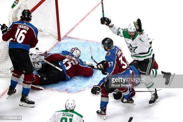 Alexander Radulov of the Dallas Stars celebrates after scoring a goal past Michael Hutchinson of the Colorado Avalanche during the first period in...