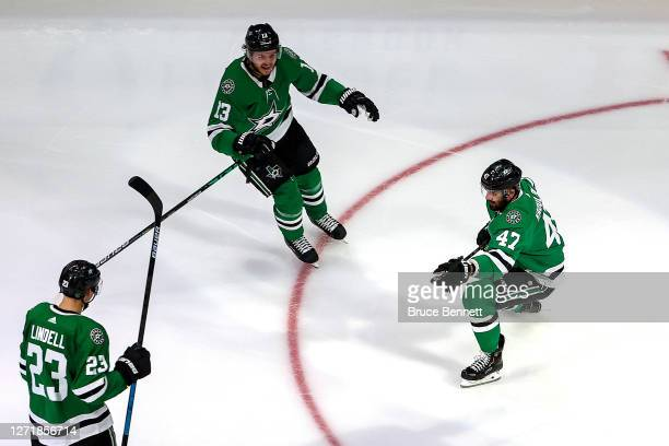 Alexander Radulov of the Dallas Stars celebrates after scoring the gamewinning goal past against the Vegas Golden Knights during the first overtime...