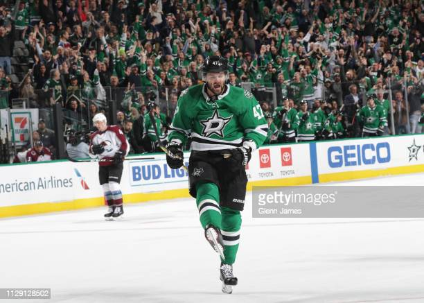 Alexander Radulov of the Dallas Stars celebrates his first career hattrick against the Colorado Avalanche at the American Airlines Center on March 7...