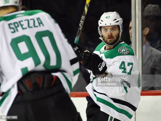Alexander Radulov of the Dallas Stars celebrates his goal at 1546 of the first period against the New York Islanders at the Barclays Center on...
