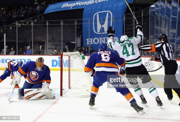 Alexander Radulov of the Dallas Stars celebrates his goal at 1546 of the first period against Jaroslav Halak of the New York Islanders at the...