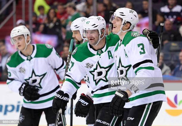 Alexander Radulov of the Dallas Stars celebrates his goal with John Klingberg against the Washington Capitals during the second period at Capital One...