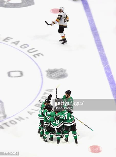 Alexander Radulov of the Dallas Stars celebrates with his teammates after scoring the game-winning goal past against the Vegas Golden Knights during...