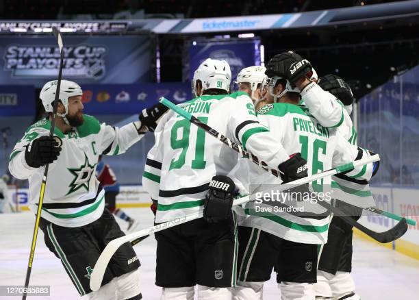 Alexander Radulov of the Dallas Stars celebrates with Jamie Benn Tyler Seguin, Miro Heiskanen and Joe Pavelski after Radulov scored in the first...