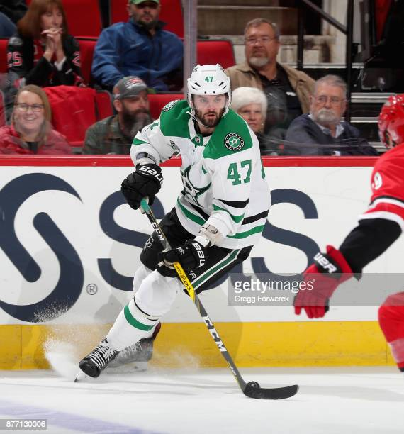 Alexander Radulov of the Dallas Stars controls the puck near the boards during an NHL game against the Carolina Hurricanes on November 13 2017 at PNC...