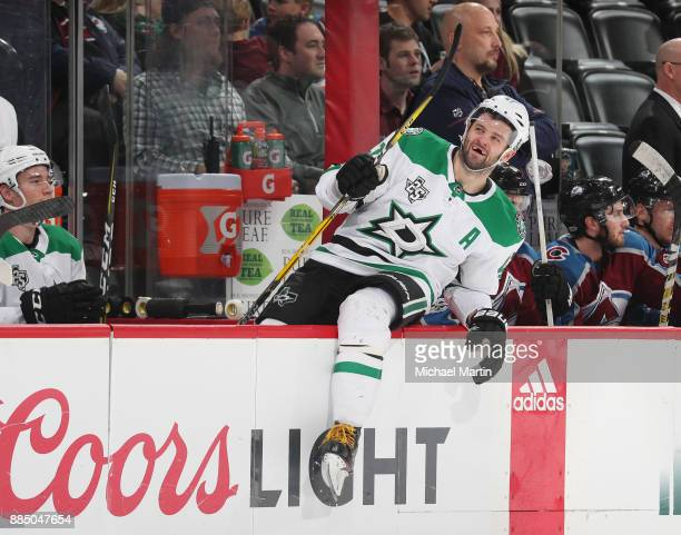 Alexander Radulov of the Dallas Stars exits the bench after the game against the Colorado Avalanche at the Pepsi Center on December 3 2017 in Denver...