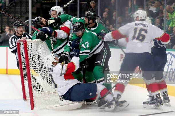 Alexander Radulov of the Dallas Stars fights with Mike Matheson of the Florida Panthers in the first period at American Airlines Center on January 23...