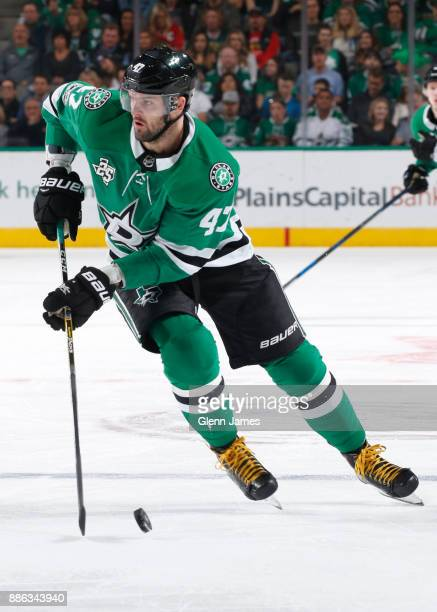 Alexander Radulov of the Dallas Stars handles the puck against the Chicago Blackhawks at the American Airlines Center on December 2 2017 in Dallas...