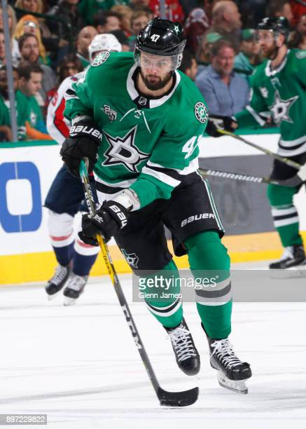 Alexander Radulov of the Dallas Stars handles the puck against the Washington Capitals at the American Airlines Center on December 19 2017 in Dallas...