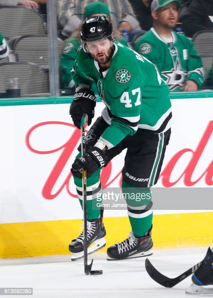 Alexander Radulov of the Dallas Stars handles the puck against the Toronto Maple Leafs at the American Airlines Center on January 25 2018 in Dallas...