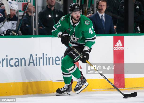 Alexander Radulov of the Dallas Stars handles the puck against the Winnipeg Jets at the American Airlines Center on February 24 2018 in Dallas Texas