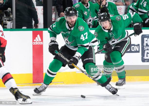 Alexander Radulov of the Dallas Stars handles the puck against the Ottawa Senators at the American Airlines Center on March 5 2018 in Dallas Texas