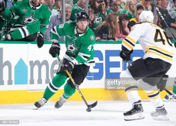 Alexander Radulov of the Dallas Stars handles the puck against the Boston Bruins at the American Airlines Center on March 23 2018 in Dallas Texas