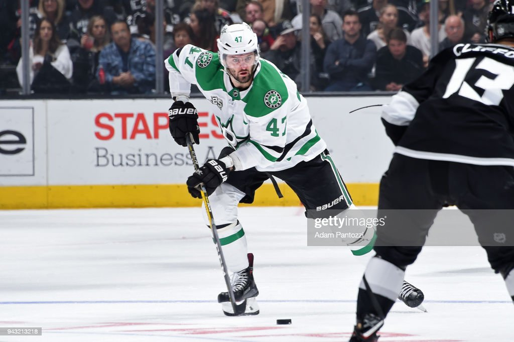 Alexander Radulov #47 of the Dallas Stars handles the puck during a game against the Los Angeles Kings at STAPLES Center on April 7, 2018 in Los Angeles, California.