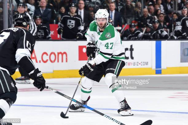 Alexander Radulov of the Dallas Stars handles the puck during a game against the Los Angeles Kings at STAPLES Center on April 7 2018 in Los Angeles...