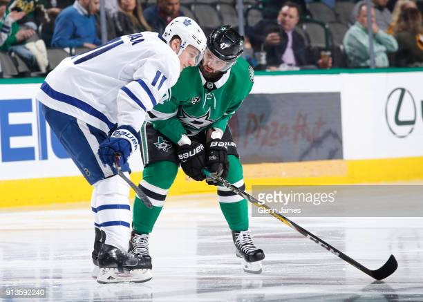 Alexander Radulov of the Dallas Stars has some words with Zach Hyman of the Toronto Maple Leafs at the American Airlines Center on January 25 2018 in...