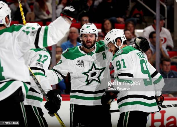 Alexander Radulov of the Dallas Stars is congratuled by teammates after scoring a goal during an NHL game against the Carolina Hurricanes on November...