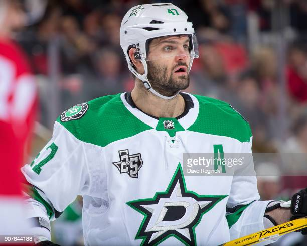 Alexander Radulov of the Dallas Stars looks down the ice against the Detroit Red Wings during an NHL game at Little Caesars Arena on January 16 2017...