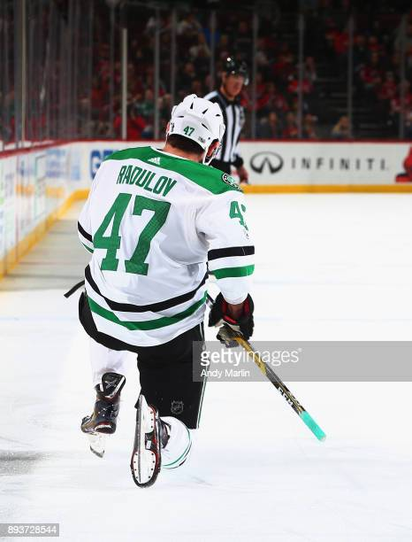 Alexander Radulov of the Dallas Stars reacts after scoring a goal against the New Jersey Devils during the game at Prudential Center on December 15...
