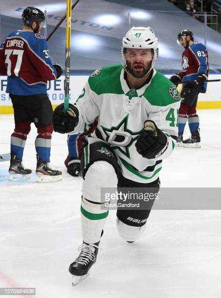 Alexander Radulov of the Dallas Stars reacts after scoring in the first period of Game Seven of the Western Conference Second Round of the 2020 NHL...