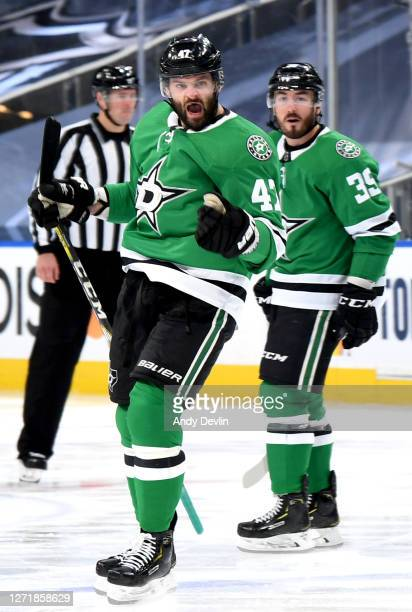 Alexander Radulov of the Dallas Stars reacts after scoring the gamewinning overtime goal for the 32 win as Joel Hanley looks on in Game Three of the...
