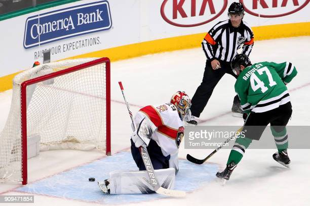 Alexander Radulov of the Dallas Stars scores a goal against Harri Sateri of the Florida Panthers in the third period at American Airlines Center on...